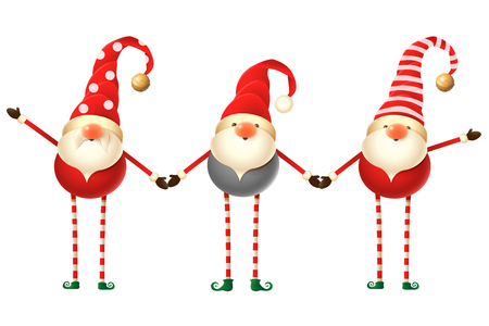 Set of three cute Scandinavian Gnomes isolated on white background Ilustrace