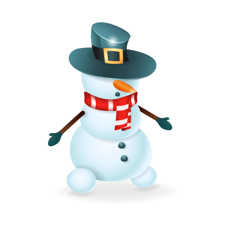 Cute Snowman with hat over its eyes vector illustration