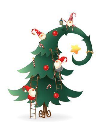 Christmas tree decorated with Scandinavian Gnomes who climb all over tree - transparent background