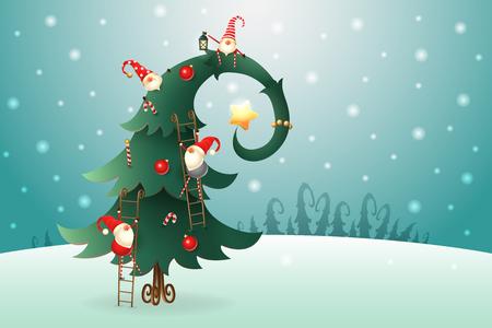 Árbol de Navidad decorado con gnomos escandinavos que trepan por todo el árbol en el paisaje invernal