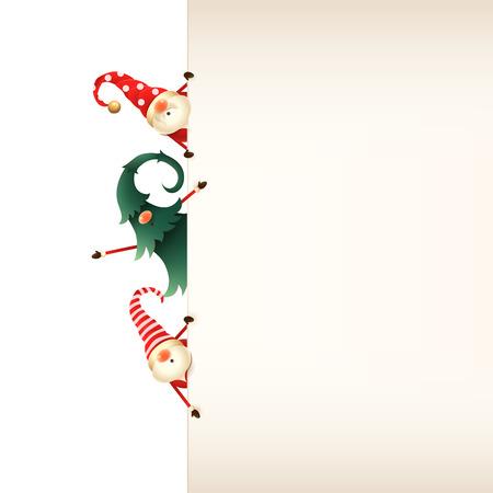 Weihnachtsgrußkartenvorlage. Drei Weihnachtszwerge, die hinter Schild auf transparentem Hintergrund spähen Vektorgrafik