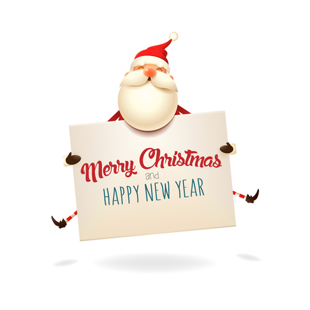 Merry Christmas and happy New Year greeting - Santa Claus jumping with table