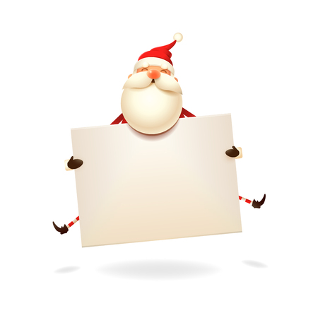Santa Claus jumping with board - Christmas card template