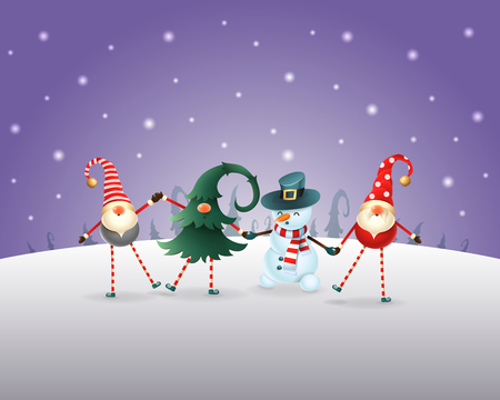 Christmas background. Happy friends three Gnomes and Snowman celebrate Christmas and New Year. Purple winter landscape Ilustrace
