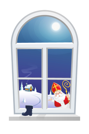 Saint Nicholas - Sinterklaas - looking at window from outside, children boot wait for gifts - winter night lansdcape