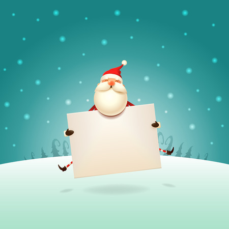 Cute Santa Claus jumping with board on winter landscape - Christmas template poster