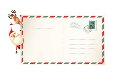 Brief für den Weihnachtsmann mit Weihnachtsmann und Rentier auf der linken Seite der Postkarte Vektorgrafik