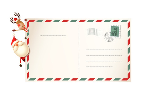 Letter for Santa Claus with Santa and Reindeer on left side of postcard 矢量图像