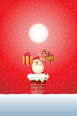 Santa Claus and Reindeer on the chimney with gifts - red snowy moonlight background