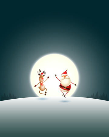 Happy expresion of Santa Claus and Reindeer on winter landscape with moonlight - Christmas poster Ilustração