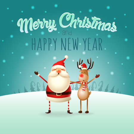Merry Christmas and happy New Year greeting card - Santa Claus and Reindeer celebrate Christmas - winter landscape 写真素材 - 111351528