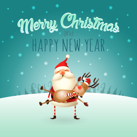 Merry Christmas and happy New Year greeting card - Santa Claus carries a Reindeer on his hands  イラスト・ベクター素材
