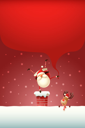 Christmas template poster - Happy Santa Claus with gifts bag standing on one hand on the chimney