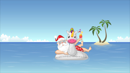 Santa Claus on inflatable unicorn float enjoys the summer vacation