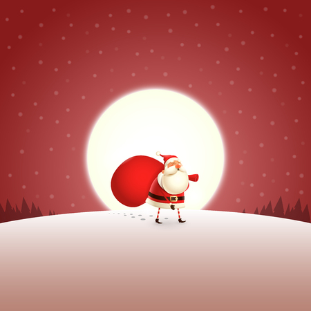Santa Claus walking far away with gifts bag - red moonlight landscape