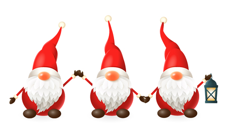 Tomte, Nisse, Tomtenisse - three happy cute Scandinavian gnomes celebrate winter solstice - vector illustration isolated on white