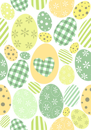 Happy Easter pattern - pastel green orange and yellow eggs 向量圖像