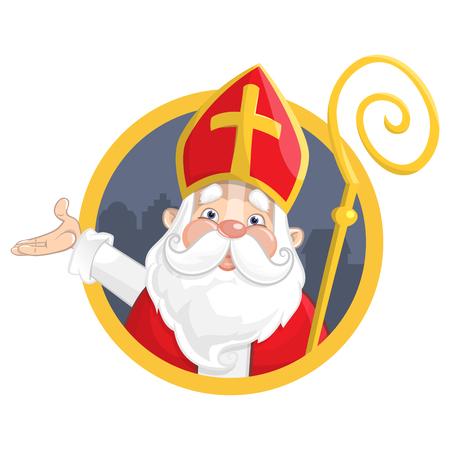 Saint Nicholas or Sinterklaas. Portrait on circle banner - vector illustration isolated on white background Illustration