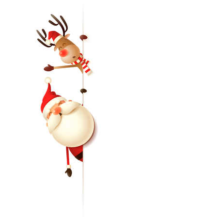 Christmas friends Santa Claus and Reindeer on left side of board - isolated on white background Çizim