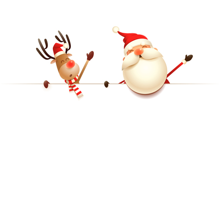 Santa Claus and Reindeer on top of billboard - isolated on white background