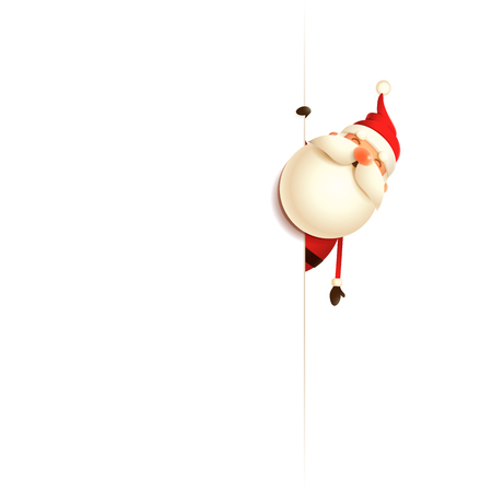 Santa Claus on right side of billboard - isolated white background
