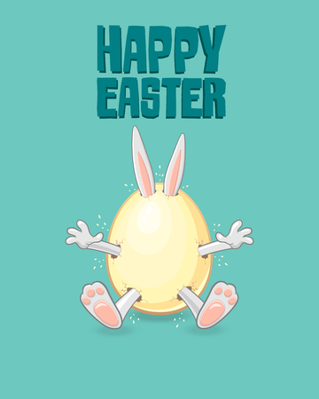 Easter greeting card - Happy Easter bunny get out of egg