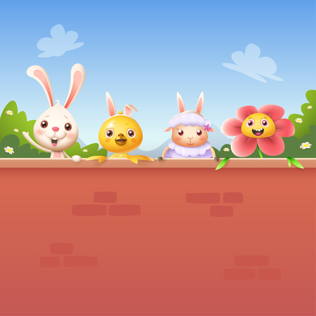Happy friends celebrate Easter behind wall - bunny chicken sheep and flower