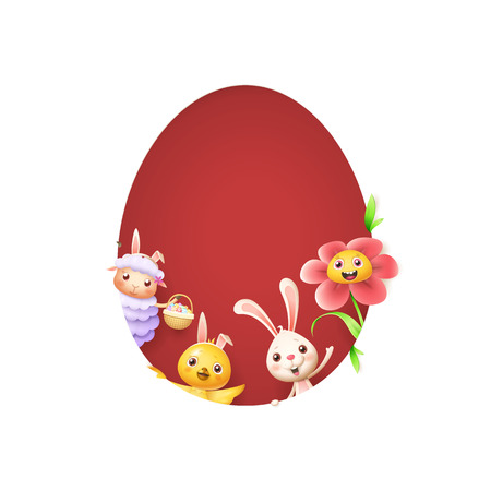 Easter friends sheep bunny chicken and flower peeking behind egg shape hole on red background