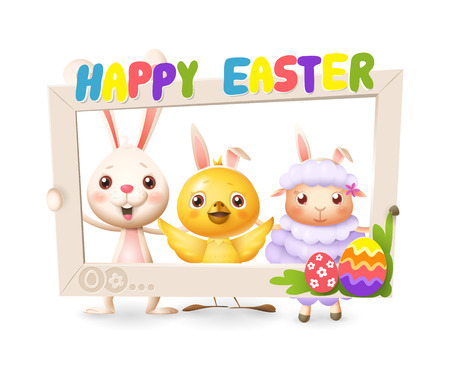 Easter animals - Happy cute bunny chicken and lamb celebrate Easter with social network photo frame - isolated on white background Illustration