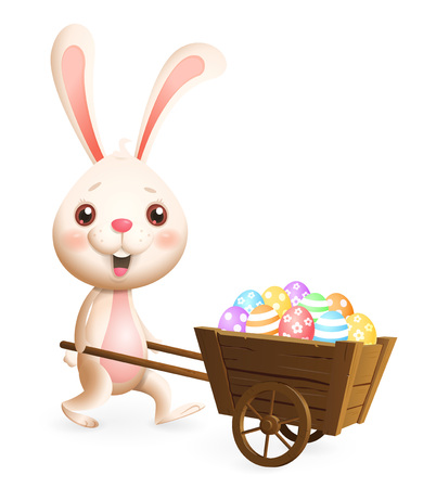 Easter bunny carrying cart with colorful decorated Easter eggs - isolated on white background