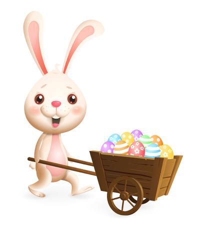 Lapin de Pâques transportant le chariot avec des oeufs de Pâques décorés colorés - isolés sur fond blanc Vecteurs