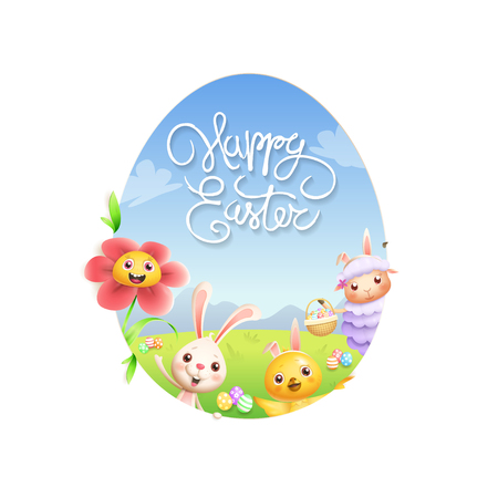 Easter greeting card - lamb bunny chicken and flower peeking behind egg shape hole