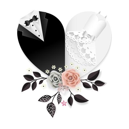 Invitación de boda con flores de papel cortadas y ropa en forma de corazón de los novios