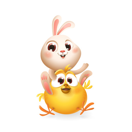 Cute baby bunny and chicken playing and having fun - isolated on white - vector illustration