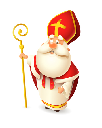 Saint Nicholas Nicolaus or Sinterklaas - happy cute isolated on white background Vector Illustration