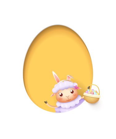 Easter lamb in a egg shaped yellow hole with a basket filled with decorated eggs - isolated on white