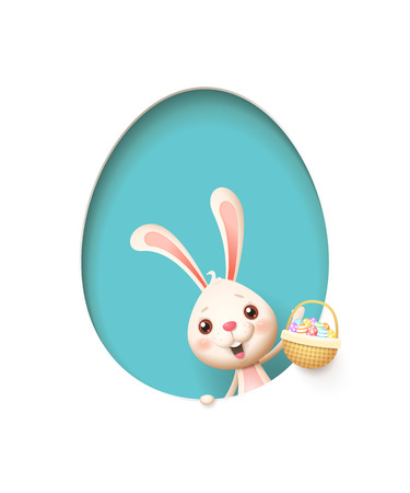 Easter bunny in a egg shaped blue hole with a basket filled with decorated eggs - isolated on white