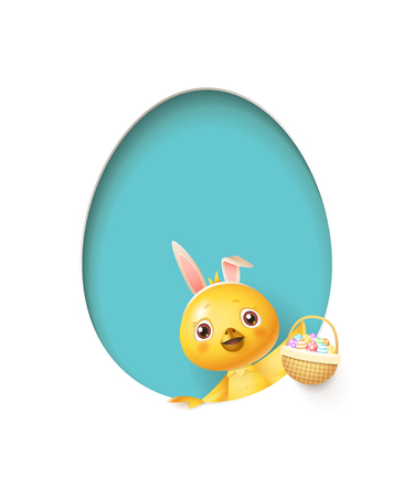 Easter chicken in egg shaped blue hole with a basket filled with decorated eggs - isolated on white