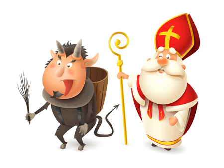 Saint Nicholas or Sinterklaas and Krampus - Central European traditional characters - isolated on white