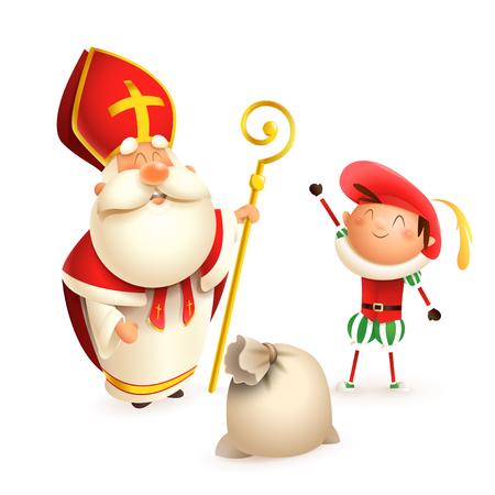 San Nicolás y ayudante Zwarte Piet con bolsa de regalo aislado sobre fondo blanco. Ilustración de vector