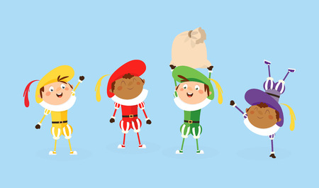 Four Zwarte Piet Sinterklaas helpers - vector illustration isolated on white  イラスト・ベクター素材