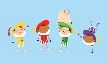 Vier Zwarte Piet Sinterklaas helpers - vectorillustratie geïsoleerd op wit