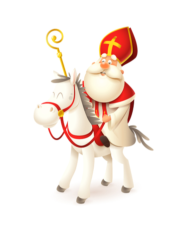 Saint Nicholas on white horse - Sinterklaas and Amerigo vector illustration isolated on white Stock Illustratie