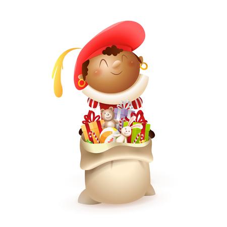 Ayudante de San Nicolás rojo con bolsa de regalo - aislado sobre fondo blanco.
