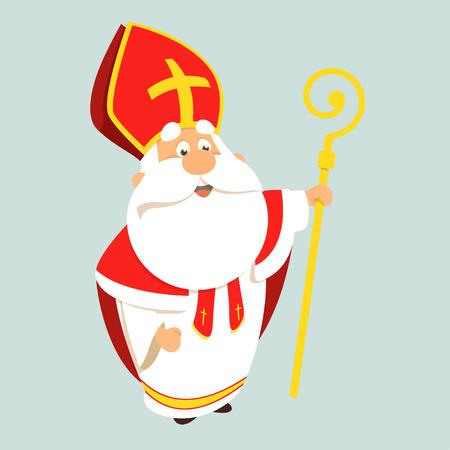 Saint Nicholas happy cute cartoon vector illustration Stockfoto - 122398467