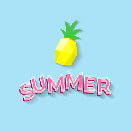 Summer text and pineaplle paper art on blue background - vector illustration