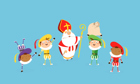 Saint nicholas and helpers celebrate and having fun - vector illustration cartoon style Stock Illustratie