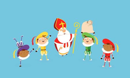 San Nicolás y ayudantes celebran y se divierten - estilo de dibujos animados de ilustración vectorial