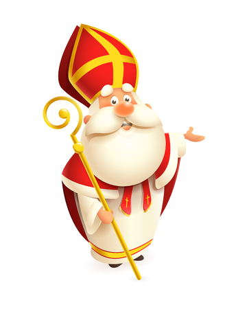 Cute Saint Nicholas with gold scepter presents - vector illustration isolated on white background