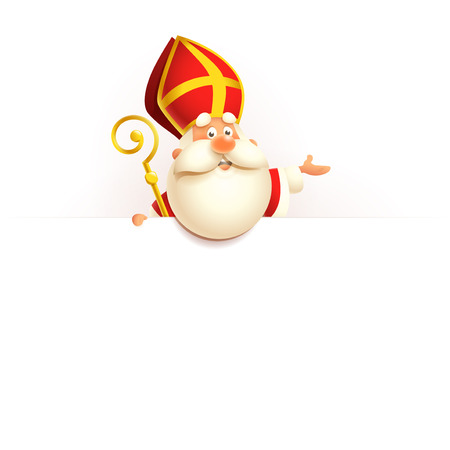 Saint Nicholas on board - happy cute character vector illustration isolated on white